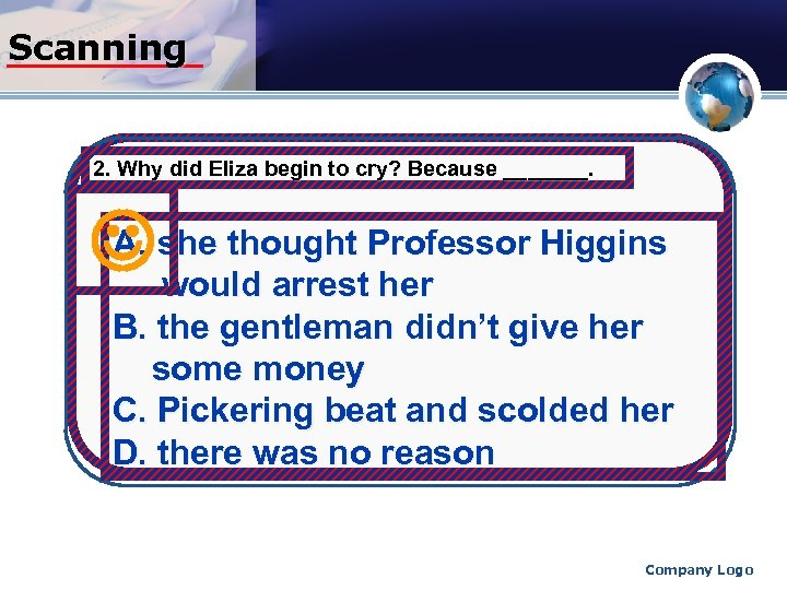 Scanning 2. Why did Eliza begin to cry? Because _______. A. she thought Professor