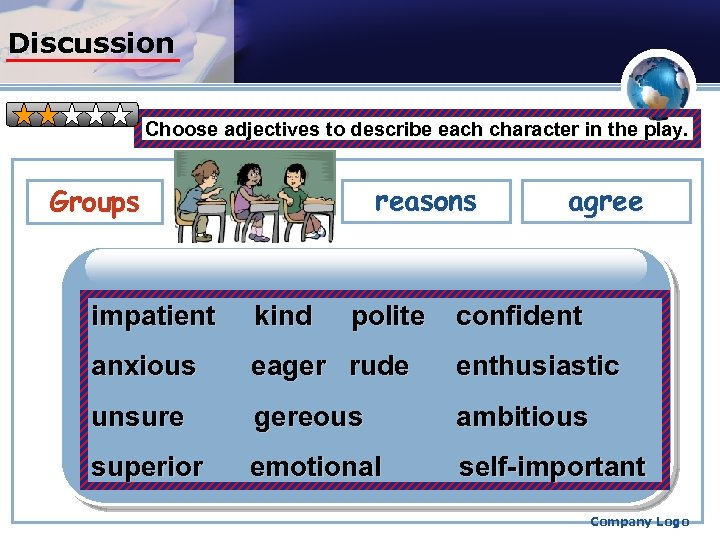 Discussion Choose adjectives to describe each character in the play. reasons Groups polite agree
