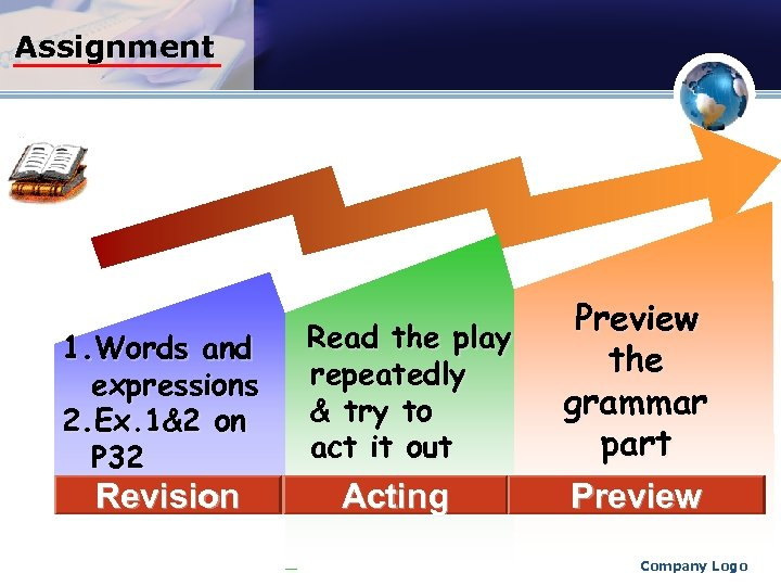 Assignment 1. Words and expressions 2. Ex. 1&2 on P 32 Revision Read the