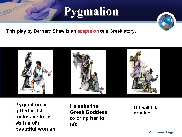 Pygmalion This play by Bernard Shaw is an adaptaion of a Greek story. Pygmalion,