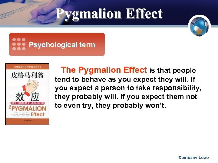 Pygmalion Effect Psychological term The Pygmalion Effect is that people tend to behave as