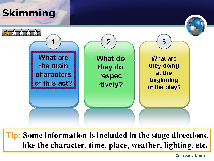 Skimming 1 2 What are the main characters of this act? What do they