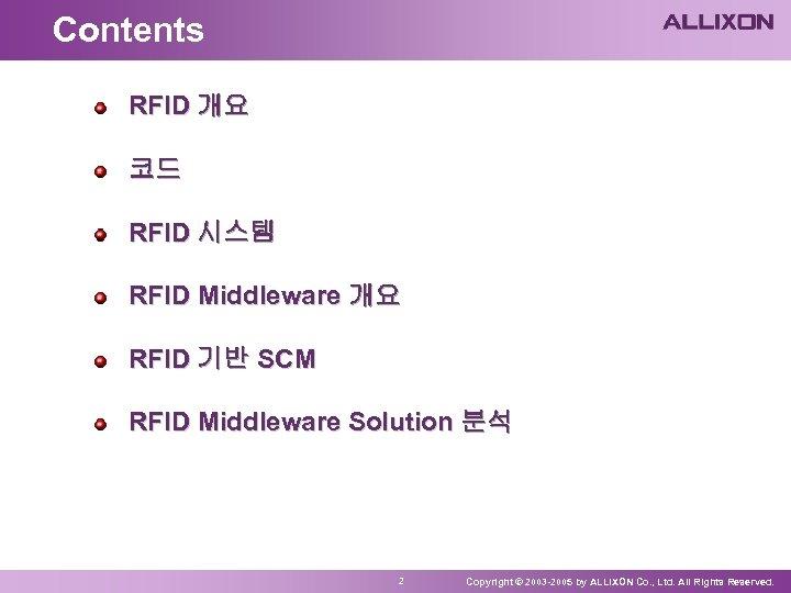 Contents RFID 개요 코드 RFID 시스템 RFID Middleware 개요 RFID 기반 SCM RFID Middleware