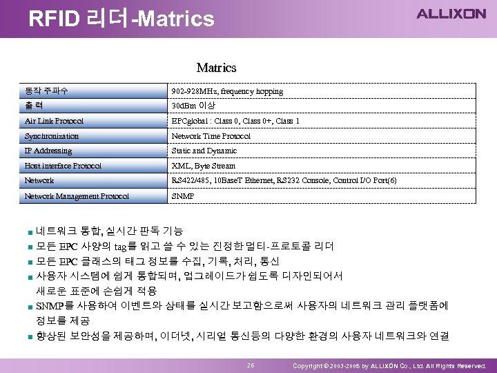 RFID 리더-Matrics 동작 주파수 902 -928 MHz, frequency hopping 출력 30 d. Bm 이상