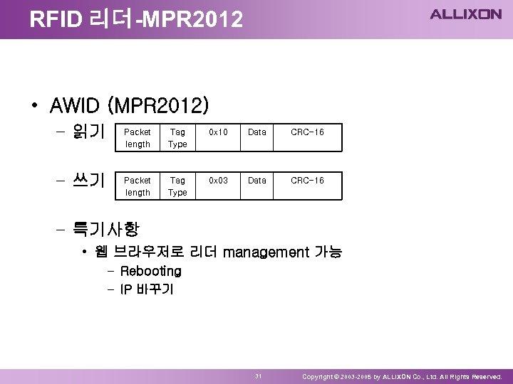 RFID 리더-MPR 2012 • AWID (MPR 2012) – 읽기 – 쓰기 Packet length Tag