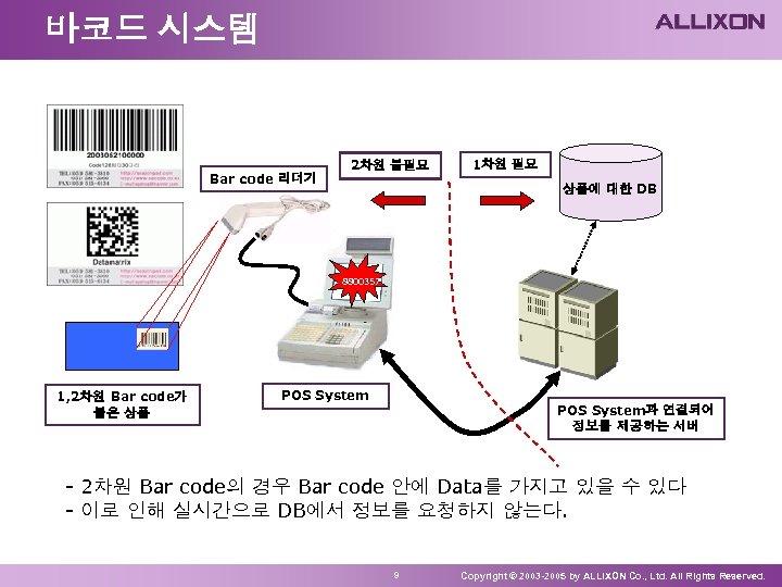 바코드 시스템 Bar code 리더기 2차원 불필요 1차원 필요 상품에 대한 DB 8800357 1,