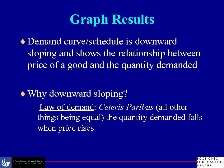 Graph Results ¨ Demand curve/schedule is downward sloping and shows the relationship between price