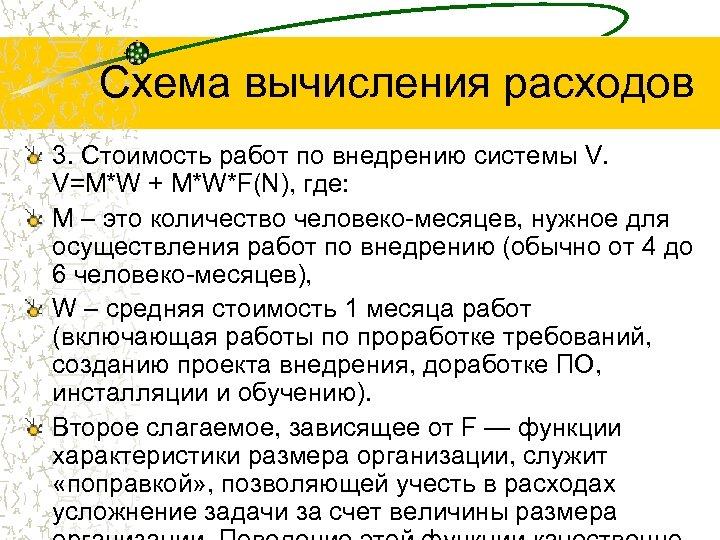 Схема вычисления расходов 3. Стоимость работ по внедрению системы V. V=M*W + M*W*F(N), где: