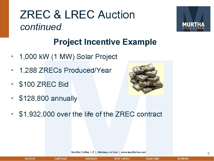 ZREC & LREC Auction continued Project Incentive Example • 1, 000 k. W (1