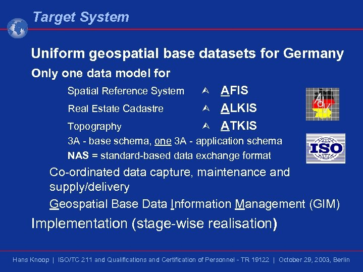 Target System Uniform geospatial base datasets for Germany Only one data model for Spatial