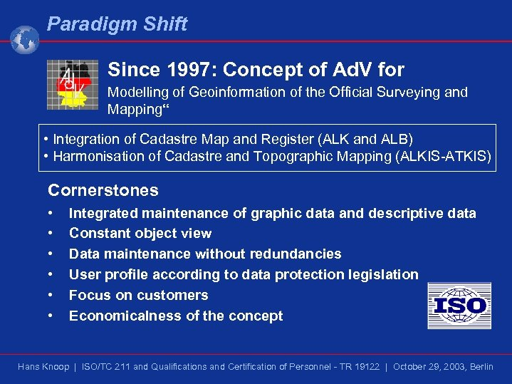 Paradigm Shift Since 1997: Concept of Ad. V for Modelling of Geoinformation of the