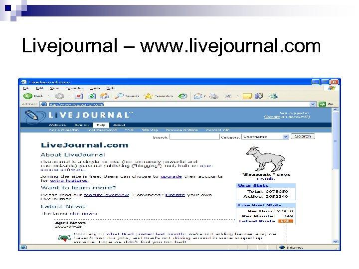 Livejournal – www. livejournal. com