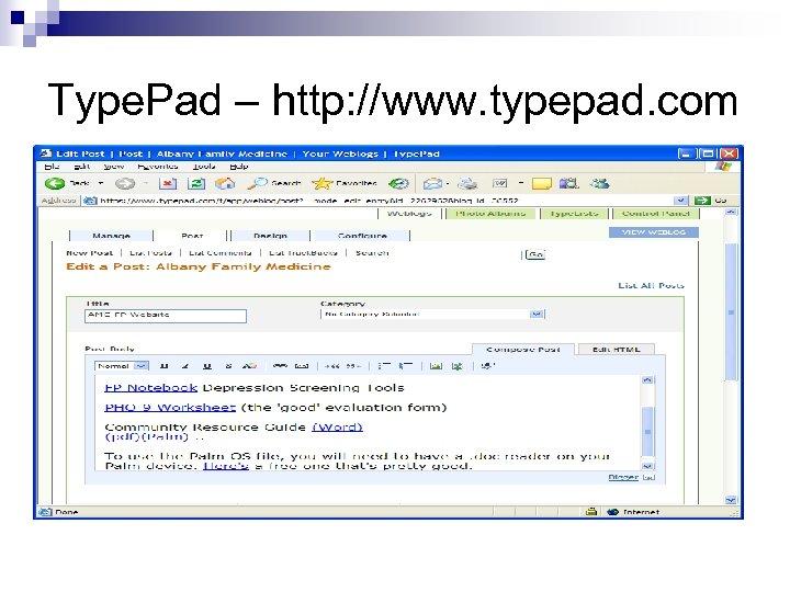 Type. Pad – http: //www. typepad. com