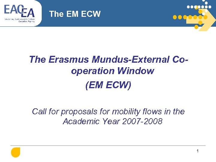 The EM ECW The Erasmus Mundus-External Cooperation Window (EM ECW) Call for proposals for