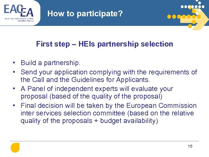 How to participate? First step – HEIs partnership selection • Build a partnership. •