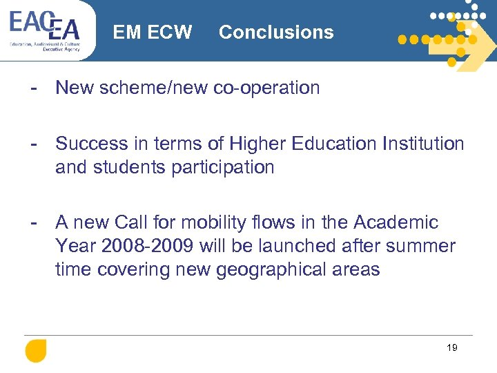 EM ECW Conclusions - New scheme/new co-operation - Success in terms of Higher Education
