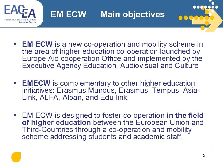 EM ECW Main objectives • EM ECW is a new co-operation and mobility scheme