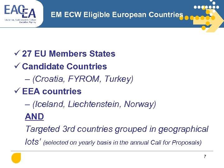 EM ECW Eligible European Countries ü 27 EU Members States ü Candidate Countries –