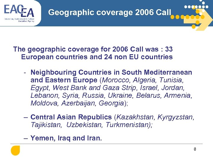 Geographic coverage 2006 Call The geographic coverage for 2006 Call was : 33 European