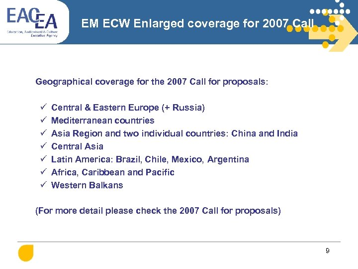 EM ECW Enlarged coverage for 2007 Call Geographical coverage for the 2007 Call for