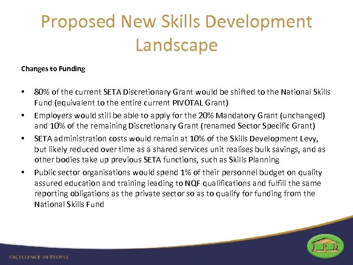 Proposed New Skills Development Landscape Changes to Funding • • 80% of the current