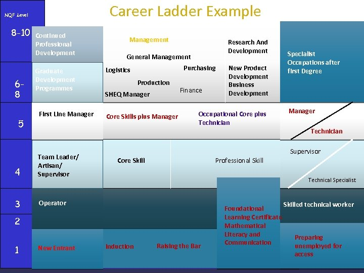 Career Ladder Example NQF Level 8 -10 68 5 Continued Professional Development Graduate Development