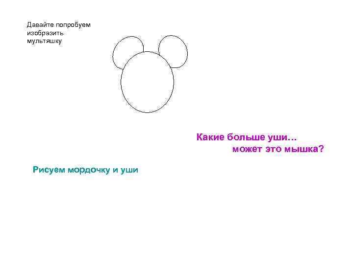 Давайте попробуем изобразить мультяшку Какие больше уши… может это мышка? Рисуем мордочку и уши