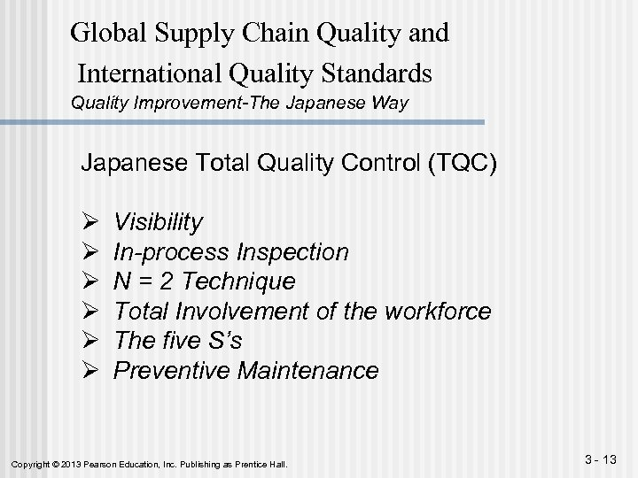 Global Supply Chain Quality and International Quality Standards Quality Improvement-The Japanese Way Japanese Total