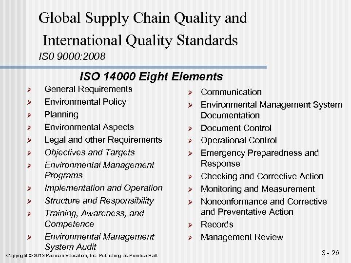 Global Supply Chain Quality and International Quality Standards IS 0 9000: 2008 ISO 14000