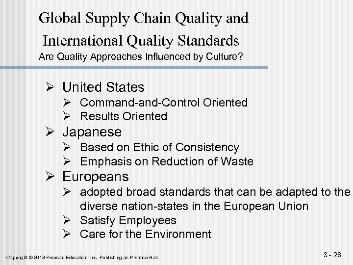 Global Supply Chain Quality and International Quality Standards Are Quality Approaches Influenced by Culture?
