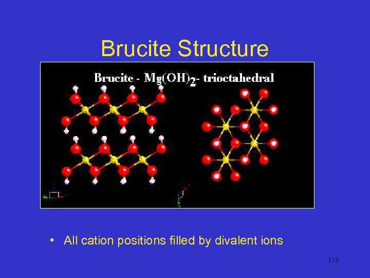 Brucite Structure • All cation positions filled by divalent ions 113