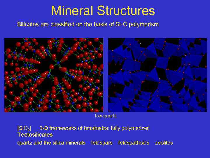 Mineral Structures Silicates are classified on the basis of Si-O polymerism low-quartz [Si. O