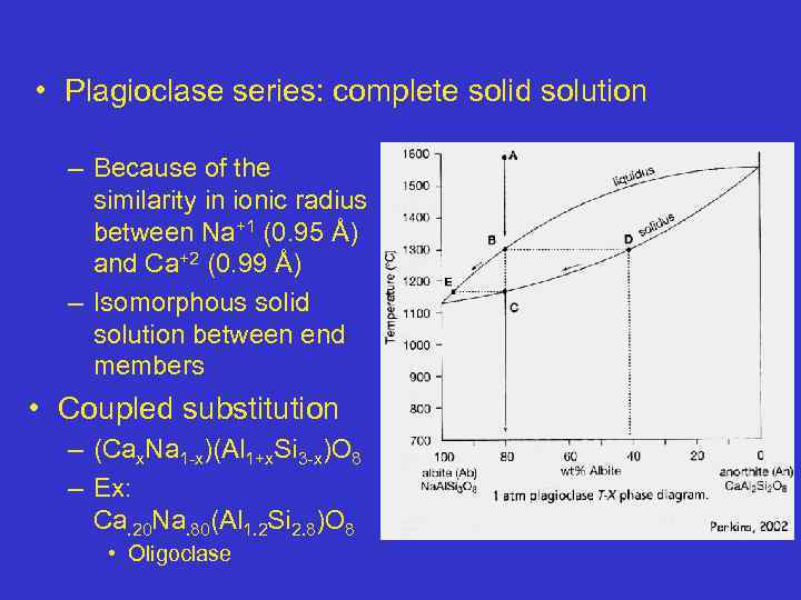 • Plagioclase series: complete solid solution – Because of the similarity in ionic