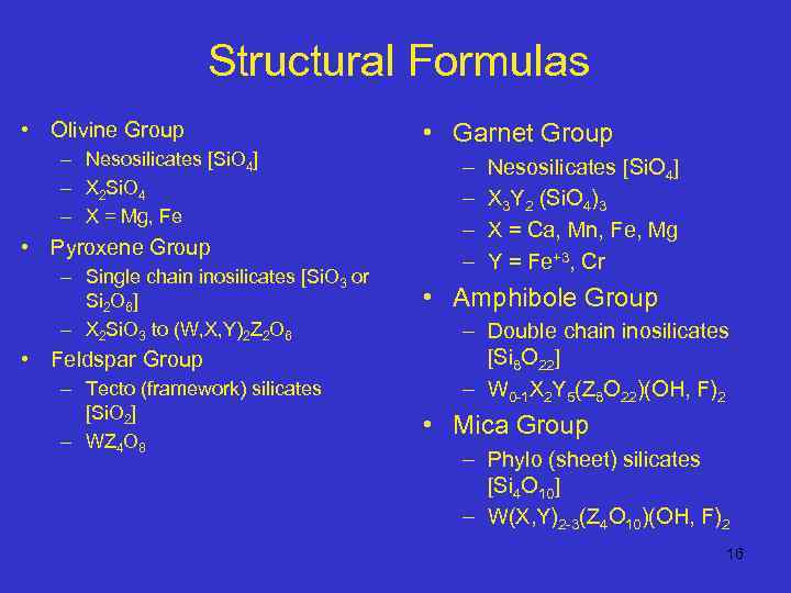 Structural Formulas • Olivine Group – Nesosilicates [Si. O 4] – X 2 Si.