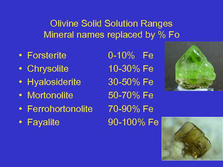 Olivine Solid Solution Ranges Mineral names replaced by % Fo • • • Forsterite