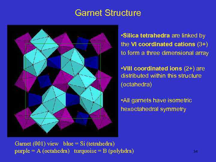 Garnet Structure • Silica tetrahedra are linked by the VI coordinated cations (3+) to