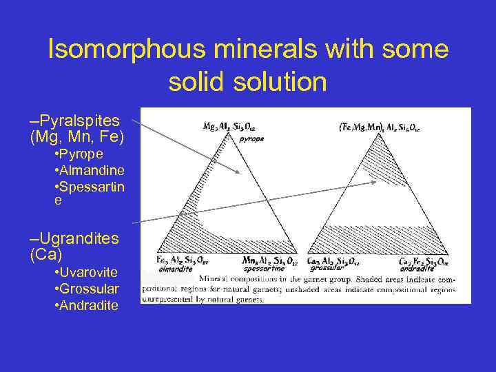 Isomorphous minerals with some solid solution –Pyralspites (Mg, Mn, Fe) • Pyrope • Almandine