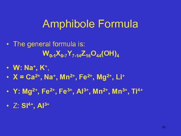 Amphibole Formula • The general formula is: W 0 -1 X 0 -7 Y