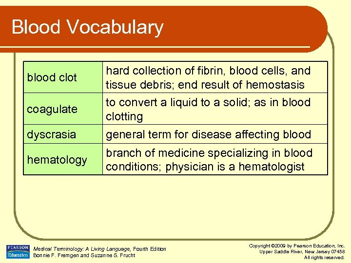 Blood Vocabulary blood clot coagulate hard collection of fibrin, blood cells, and tissue debris;