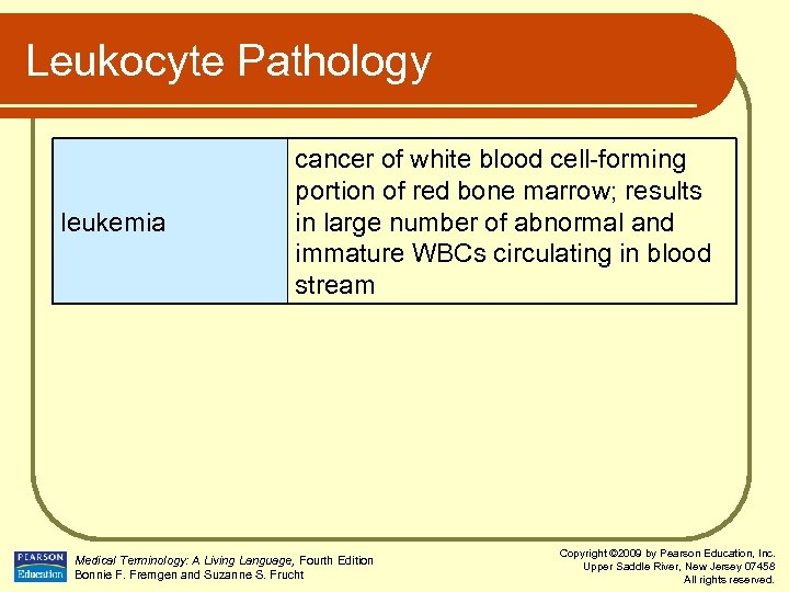 Leukocyte Pathology leukemia cancer of white blood cell-forming portion of red bone marrow; results