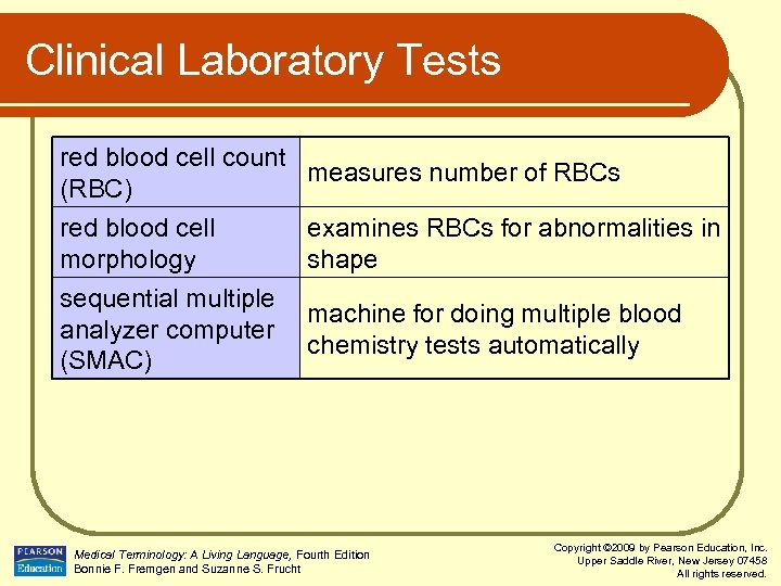 Clinical Laboratory Tests red blood cell count measures number of RBCs (RBC) red blood
