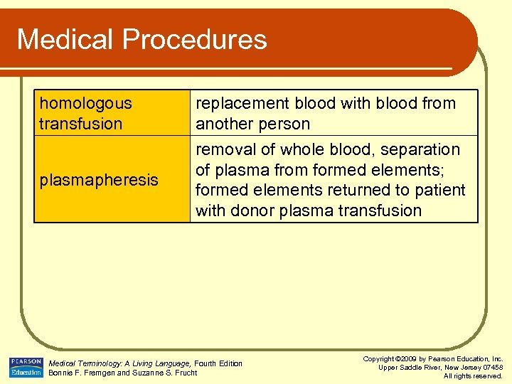 Medical Procedures homologous transfusion replacement blood with blood from another person plasmapheresis removal of