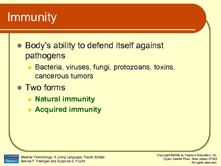 Immunity l Body's ability to defend itself against pathogens l l Bacteria, viruses, fungi,