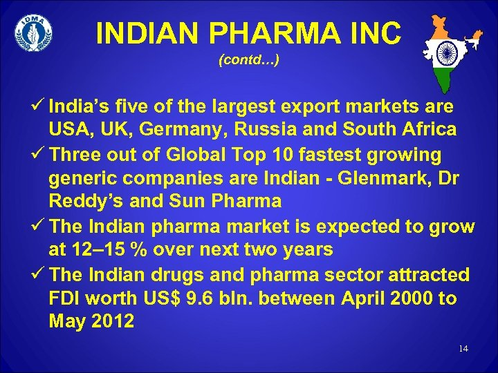 INDIAN PHARMA INC (contd…) ü India's five of the largest export markets are USA,