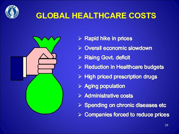 GLOBAL HEALTHCARE COSTS Ø Rapid hike in prices Ø Overall economic slowdown Ø Rising