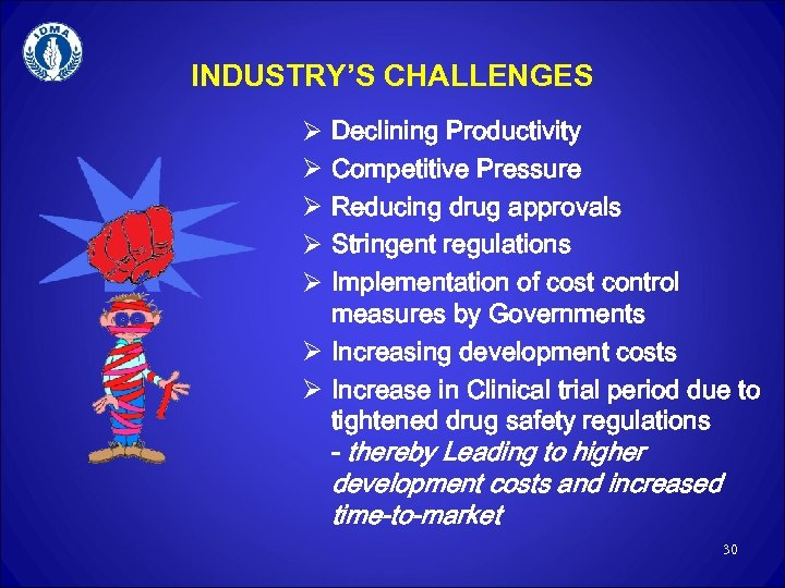 INDUSTRY'S CHALLENGES Declining Productivity Competitive Pressure Reducing drug approvals Stringent regulations Implementation of cost
