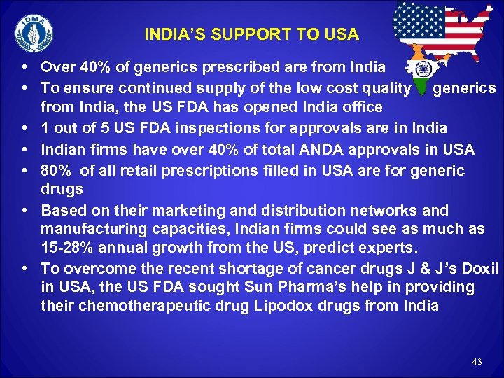 INDIA'S SUPPORT TO USA • Over 40% of generics prescribed are from India •
