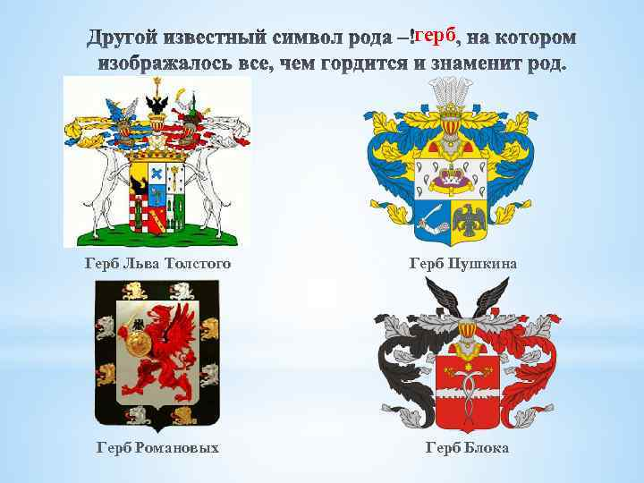 герб Герб Льва Толстого Герб Пушкина Герб Романовых Герб Блока