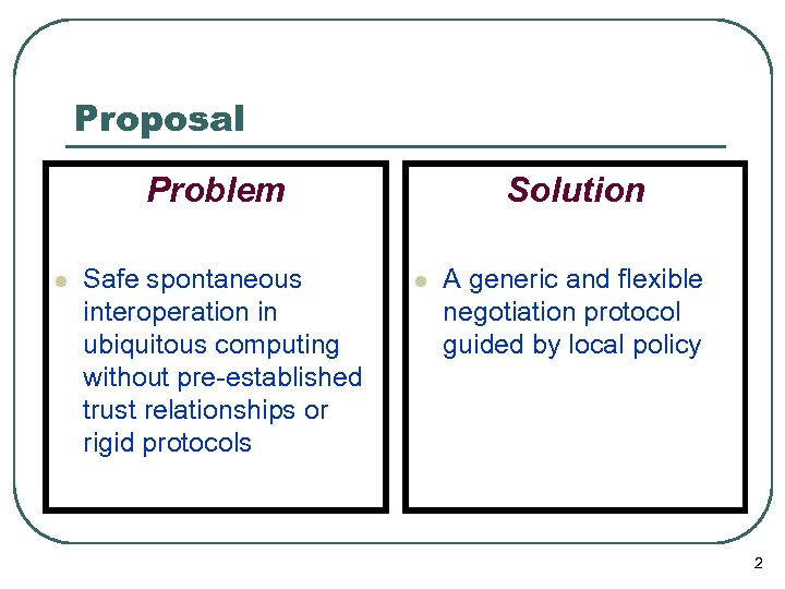 Proposal Problem l Safe spontaneous interoperation in ubiquitous computing without pre-established trust relationships or