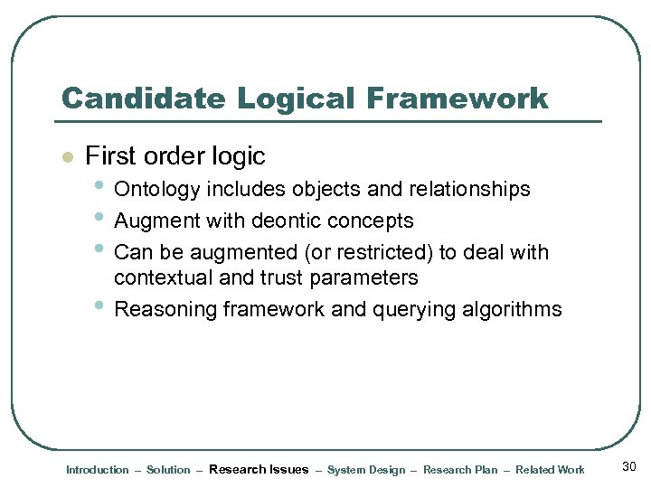 Candidate Logical Framework l First order logic • Ontology includes objects and relationships •